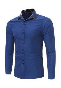 Camisa Masculina Slim Fit Sem Bolso Manga Longa - Azul