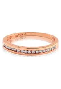 Meia Aliança Ouro Rosé Com 10,5 Pontos De Diamantes