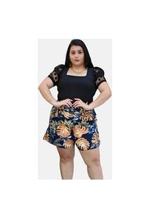 Body Summer Body Plus Size Manga Princesa Tule Preto