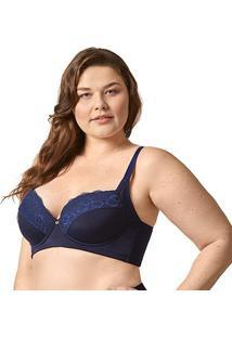 Sutiã Bonjour Plus Size Com Bojo Renda - Feminino-Azul