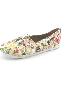 Alpargata Quality Shoes Floral Feminina - Feminino-Branco