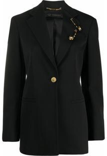 Versace Blazer Com Detalhe De Alfinete - Preto