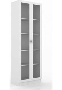 Armário 2 Portas Com Vidro 4 Prateleiras Tecnomobili Branco