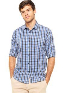 Camisa Colcci Quadrados Azul