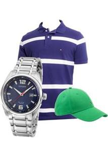 Relógio Masculino Analógico Citizen Tz20368F - Prata + Camisa Polo Masculina Re Fit All + Boné Masculino Ap Class Bb Th026 Único M - Tommy Hilfiger