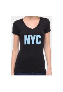 Camiseta Suffix Preta Gola V Estampa New York City Azul Bebe