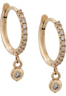 Zoë Chicco Argolas De Ouro 14Kt Com Diamante - Dourado