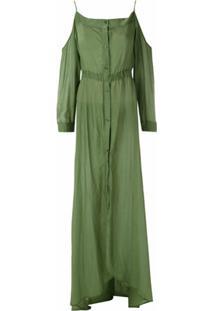 Amir Slama Vestido Longo De Seda - Verde