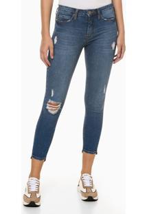 Calça Jeans Feminina Super Skinny Destroyed Azul Médio Calvin Klein Jeans - 36