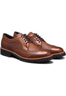 Sapato Casual Couro Élie Brogue Oxford Tadmor Masculino - Masculino-Marrom