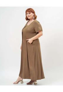 Vestido Almaria Plus Size Garage Longo Liso Verde