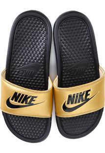 Chinelo Nike Benassi Jdi Slide Feminino - Feminino-Preto+Dourado
