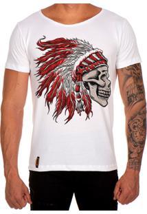 Camiseta Lucas Lunny T Shirt Gola Canoa Estampada Caveira Cocar Vermelho Branco