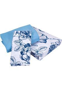Jogo De Cama King Teka - Listrado E Flores Azul - Juliete - 150 Fios - (4 Peças)