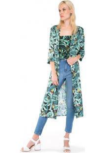 Kimono De Cetim Estampado