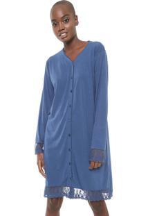 Camisola Pzama Curta Renda Azul