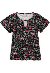 Blusa Floral Recorte Frontal Malwee