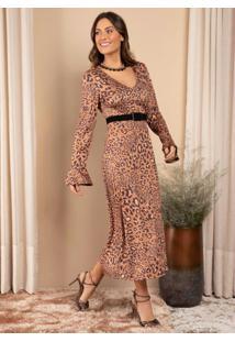 Vestido Midi Oncinha Com Decote V E Fenda