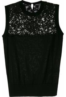 Dolce & Gabbana Blusa De Lã Com Renda Aplicada - Preto