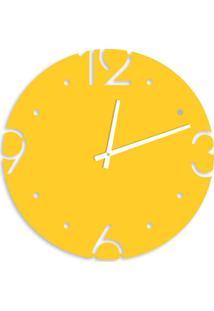 Relógio De Parede Premium Amarelo Com Números Vazados 50Cm Grande