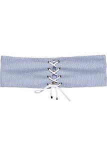 Cinto Listrado Com Botões- Azul & Branco- 11X80Cmgregory