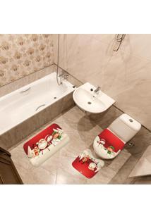 Jogo De Banheiro Natal Papai Noel Vermelho Único
