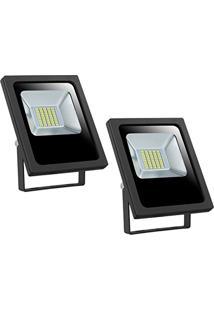 Refletor Led 20W Smd Holofote Bivolt Prova D´Água Verde Kit 2