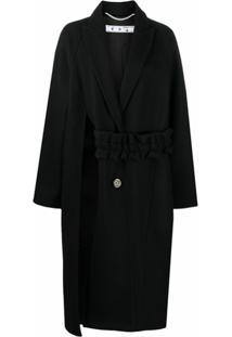 Off-White Casaco Com Abotoamento Simples E Detalhe De Recorte Vazado - Preto