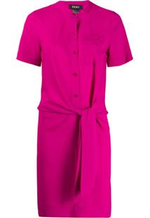 Dkny Tie Front Shirt Dress - Rosa