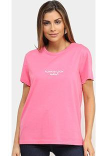 Camiseta Colcci Always Look Ahead Feminina - Feminino-Rosa