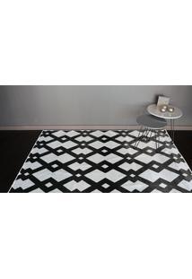 Tapete Belga Geometric Desenho 10 1.00X1.40 - Edantex - Preto / Branco