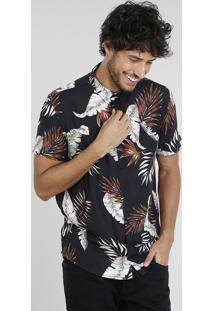 Camisa Masculina Relaxed Estampada De Folhagem Manga Curta Preta