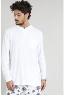 Camiseta Masculina Flamê Com Capuz E Bolso Manga Longa Branca