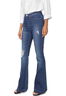 Calça Jeans Calvin Klein Jeans Flare Destroyed Azul