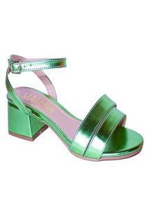 Sandália Metalizada Verde Lima Salto Grosso