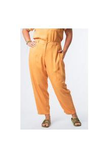 Calça Almaria Plus Size Munny Lisa Reta Amarelo