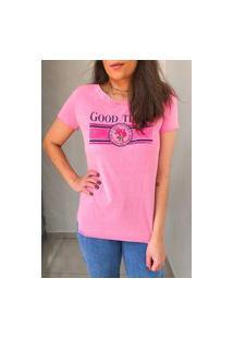 Camiseta Algodão - Rosa