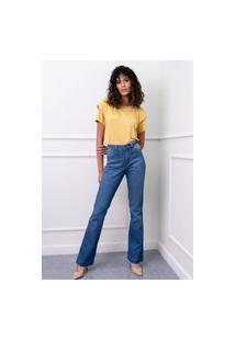 Calça Jeans Boot Cut Sisal Jeans Bolso Bordado Azul