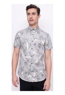 Camisa Floral Em Tricoline