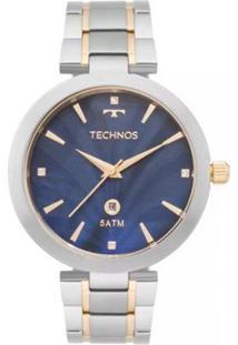 abc3c6e3a5634 R  529,90. Zattini Relógio Analógico Moderno Feminino Unissex Azul Dourado  Vidro Technos ...