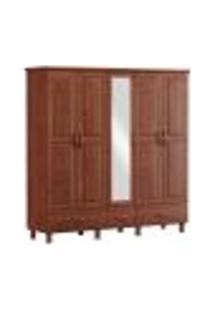 Guarda Roupa Casal Com Espelho 05 Portas 1157T Bronze Imbuia Fnt