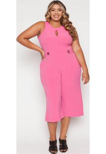 Macacão Almaria Plus Size Quebela Pantacourt Pink