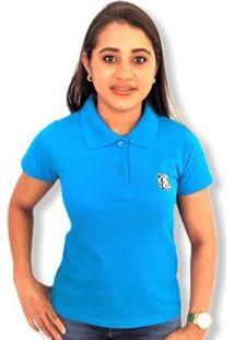 Camisa Polo Piquet Lobo Feminina - Feminino-Azul
