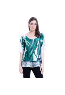 Blusa 101 Resort Wear Ombro A Ombro Poncho Crepe Cetim Estampado Folhas Verde