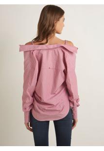 Camisa Dudalina Com Alça Feminina (Listrado, 48)