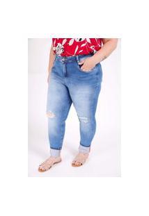 Calça Skinny Delavê Com Rasgos Plus Size Jeans Blue Calça Skinny Delavê Com Rasgos Plus Size Jeans Blue 56 Kaue Plus Size