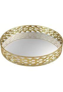 Bandeja Em Metal Com Espelho, Moas, Dourado, 6387