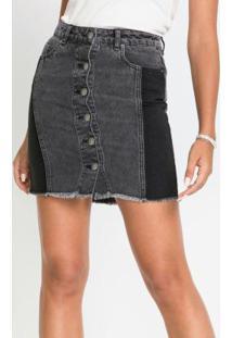 Saia Jeans Estonada Com Recortes Laterais Preta