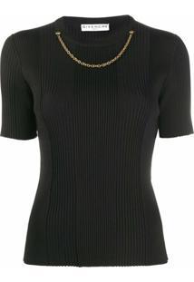 Givenchy Blusa De Tricô Canelada Com Aplicação De Corrente - Preto