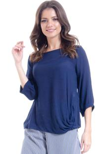 Blusa 101 Resort Wear Tunica Nã³ Amarrar Viscose Azul - Azul - Feminino - Viscose - Dafiti